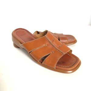 Coach Caramel Leather Slides Sandals